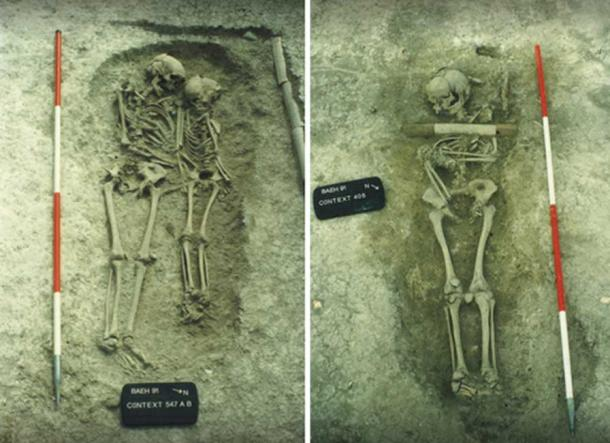 Left: Double burial at Edix Hill of an adult woman and a child aged around 10 or 11 when they died of plague in the mid-6th century. Right: Burial from Edix Hill of young man aged around 15 when he died of plague in the mid-6th century. Images: © Cambridgeshire County Council.