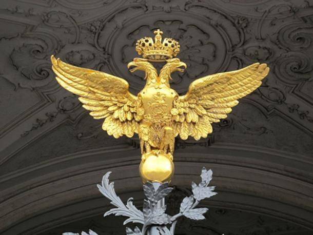 Double-headed eagle on the main entrance gate of the Hermitage Museum in Saint Petersburg.