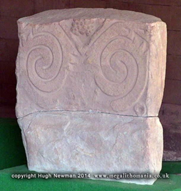 Figure 8. Double spiral pattern on a block in the Tiwanaku Museum
