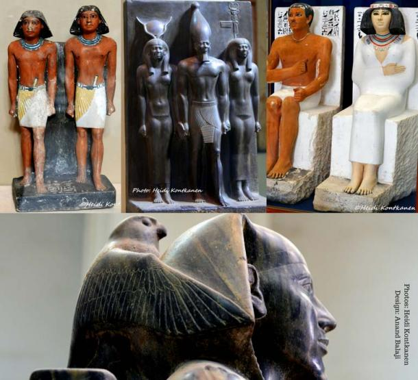 (Clockwise) Double statue of Nimaasted, priest in the pyramid complexes (5th Dynasty, Saqqara); the Menkaure triad represents the king with goddess Hathor and a patron deity (4th Dynasty, Giza); dyad of Ra-Hotep and Nofret (4th Dynasty, Meidum). (Bottom) This perfectly modeled statue depicts Khafre, the builder of the second largest pyramid, protected by Horus (4th Dynasty, Giza). Egyptian Museum, Cairo.