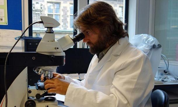 Dr. Giulio Lucarini analyzing the artifacts at the microscope.