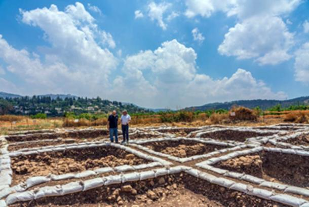 Dr. Hamoudi Khalaily (left) and Dr. Jacob Vardi, directors of the excavations at the Neolithic settlement. (Yaniv Berman, Israel Antiquities Authority)