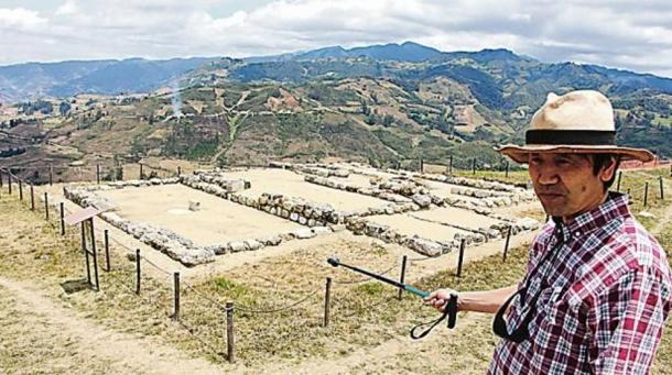 Dr. Yuji Seki in front of a section of the Pacopampa archeological site, Cajamarca region, Peru.