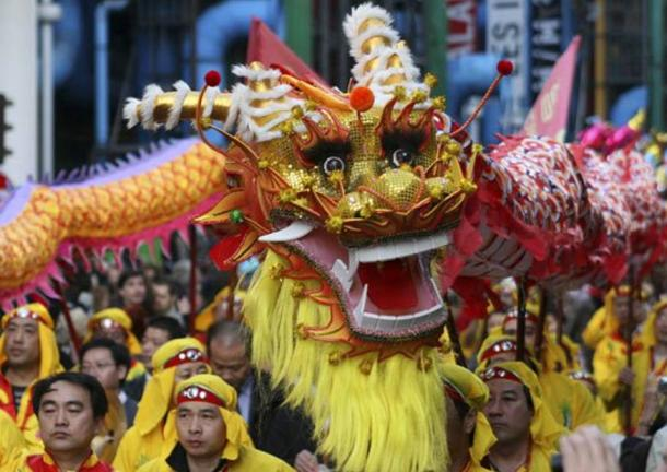 Dragon dance on Chinese New Year.