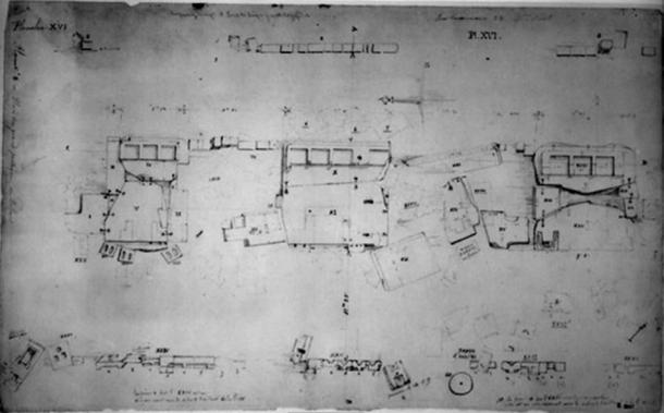 Drawing from 1848 by Leonce Angrand of the sandstone slabs. Notice the geometric outlines carved into the slabs that once held standing architecture. (Image source: Heritage Science)