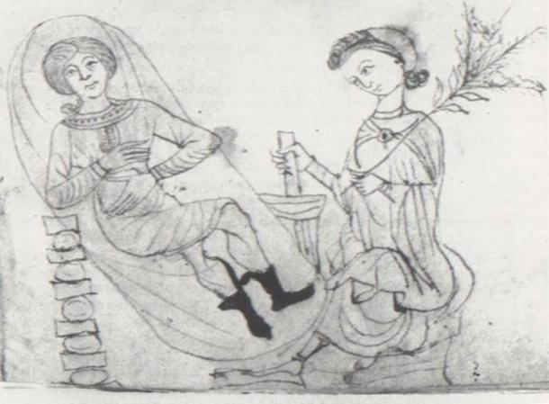 Drawing from a 13th-century manuscript of Pseudo-Apuleius's Herbarium, depicting a pregnant woman in repose, while another holds some pennyroyal in one hand and prepares a concoction using a mortar and pestle with the other. Pennyroyal was historically used as an herbal abortifacient. (Public Domain)