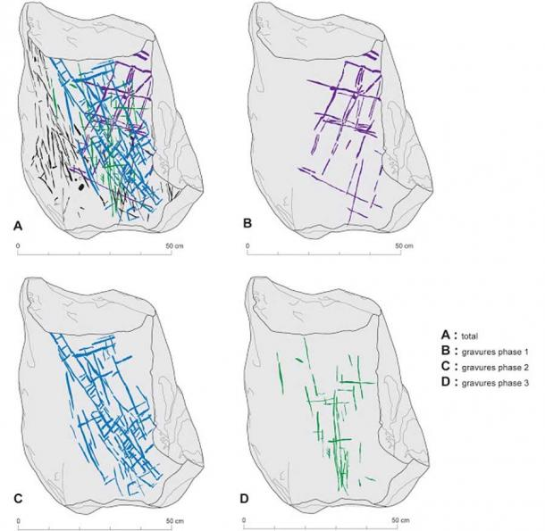 Drawing made by experts from INRAP which uses the RTI photo of one of the broken stone megalith slabs found in France as the basis to show the different engraving phases. (Sylvie Cousseran-Nere / INRAP)