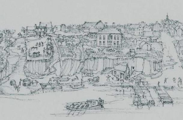 Drawing of Alexandria Waterfront with Carlyle House circa 1764.
