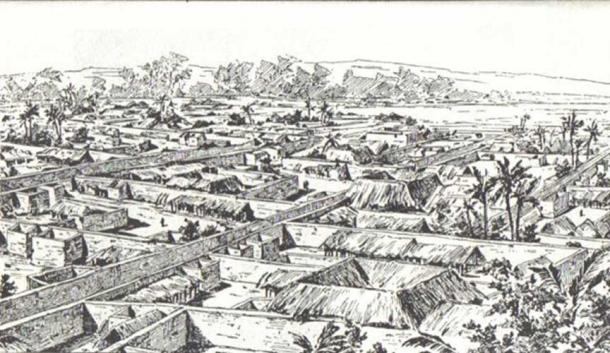 Drawing of Benin City made by an English officer 1897.
