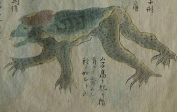 Drawing of Kappa which was caught in net on Mito east beach. Original created 1836.