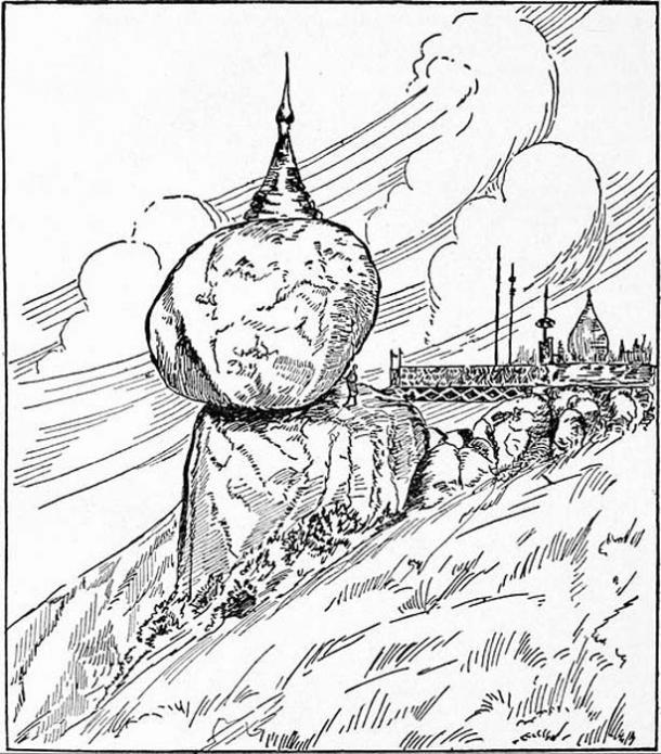 Drawing of Kyaiktiyo Pagoda (1921).