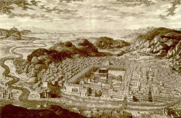 Drawing of Mecca (1850). (Public Domain)