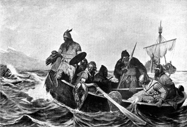 Drawing of Norsemen in a ship by Oscar Wergeland.