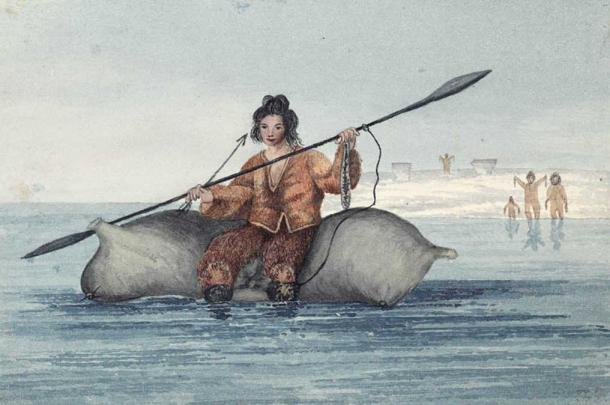Drawing of a Sadlermiut man on inflated walrus skins bringing two dried salmon and a flint-headed arrow as a peace offering to newcomers. (1824) By Captain George Francis Lyon