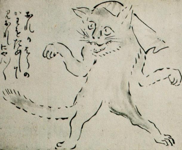Drawing of a dancing Bakeneko wearing a napkin (1754) by Yosa Buson.