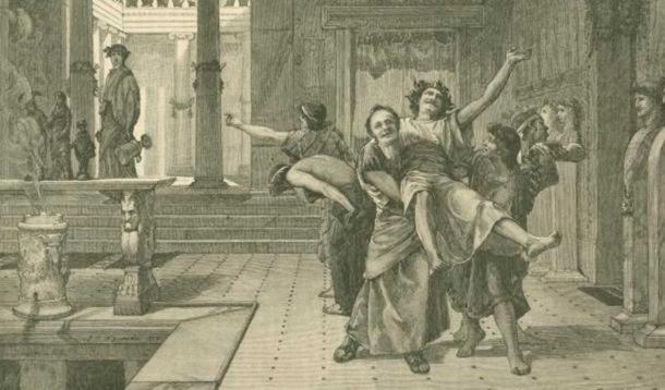 Drawing of a drunken man being carried away by friends during Saturnalia. In the background someone watches them with an empty urn drooping from his hand. (1884) By John Reinhard Weguelin. ( Public Domain )