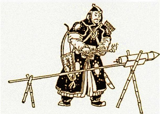 Drawing of an early Mongolian soldier lighting a rocket. (Public Domain)