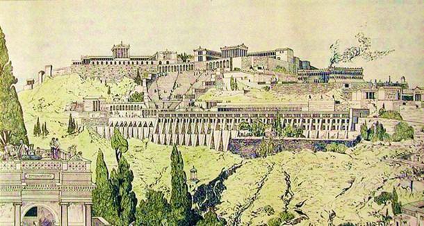 Drawing of ancient Pergamon (Pergamum).