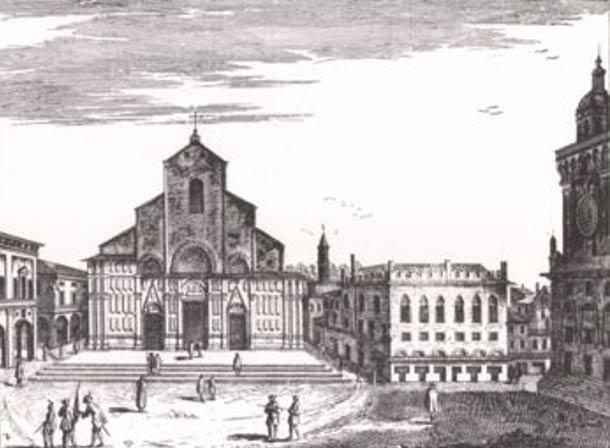 Drawing of the Basilica of San Petronio.