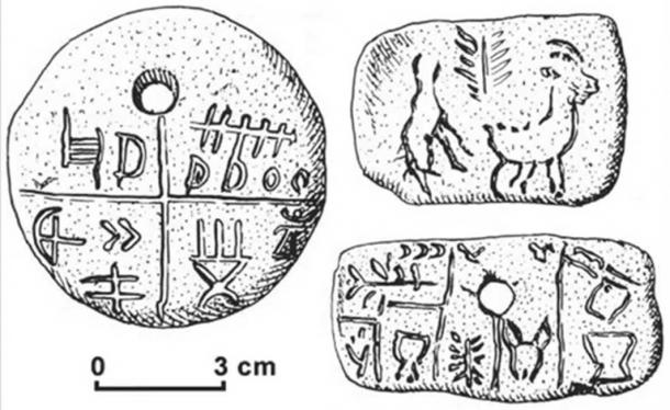 Drawing of the Tărtăria tablets.