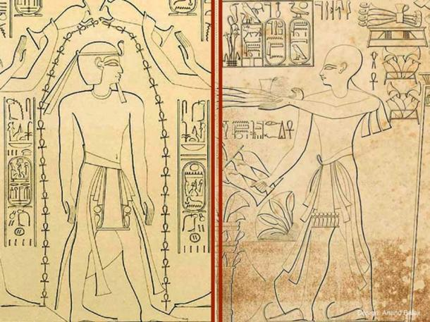 """(Left) Drawing of the Theban High Priest of Amun, Herihor, depicted on a relief. From Karnak, Temple of Khonsu (forecourt D, lower east wall, part A), 20th Dynasty, New Kingdom. (Right) Drawing from the temple of Khonsu in Karnak (Room E) shows a close-up of Pharaoh Ramesses XI participating in a sort of """"Shower of Life"""" ritual performed by two gods. (Artwork: by Karl Richard Lepsius/Public Domain)"""