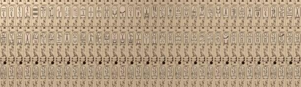 Drawing of the cartouches in the Abydos King List.