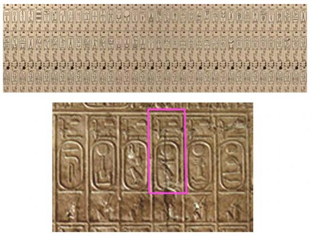 Drawing of the cartouches in the Abydos King List, with detail of the 'Khufu' cartouche.