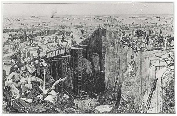 Drawing of the conditions in Kimberley in the 1870s (Public Domain)