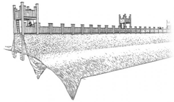 Drawing of what the Roman fort would have looked like. (Exeter City Council)