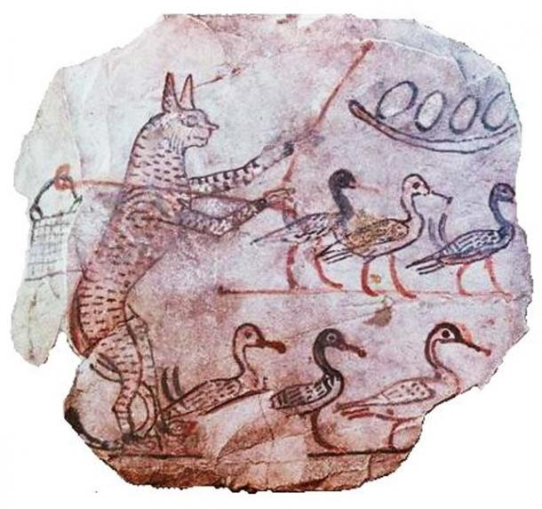 Drawing on limestone of a scene from a fable, Ancient Egyptian, 19th dynasty, c1120 BC. A cat with a shepherd's crook and a bag over his shoulder guards six geese and a nest of eggs.