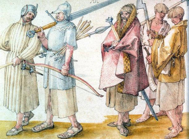 Drawing of Irish Gallowglass and three kern (right). (Albrecht Dürer (1521) / Public domain)
