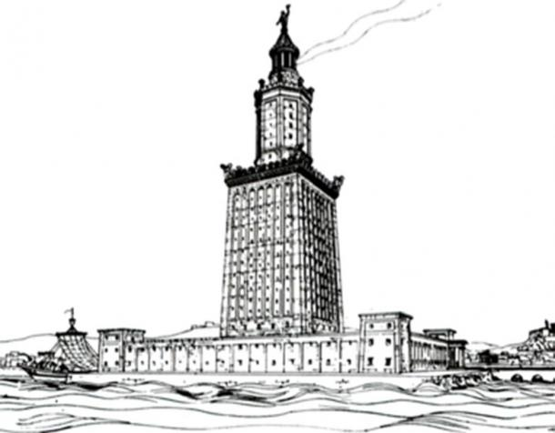 Drawing by archaeologist Hermann Thiersch (1909) of the Lighthouse of Alexandria. (Hermann Thiersch / Public Domain)