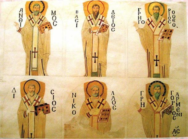 Dibujo de los hermanos Fossati que representa el mosaico de seis patriarcas en el tímpano meridional de Santa Sofía (Gaspare y Giuseppe Fossati / Dominio público)