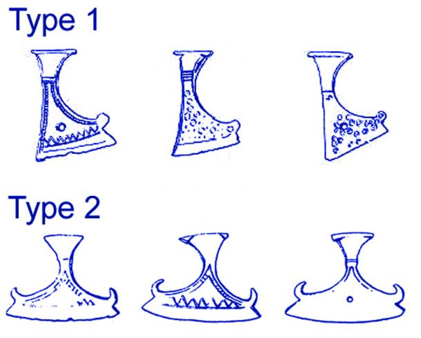 Drawings of Slavic axe amulets based on archaeological findings dating between the 11th and 12th century.