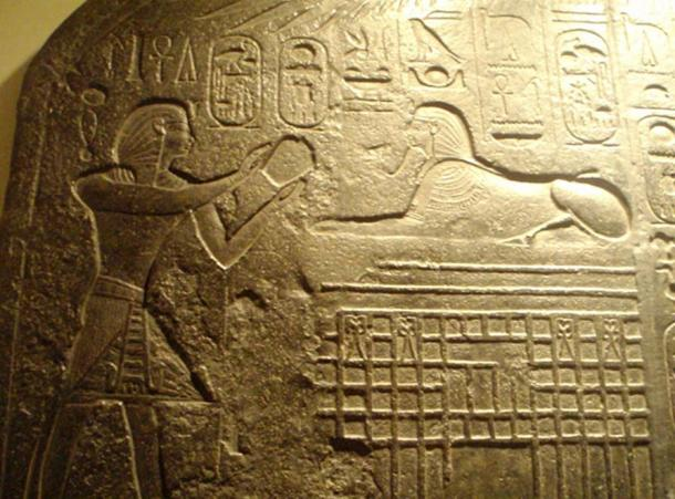 Reproduction of the Dream Stele of Thutmose IV depicting pharaoh making an offering to the Sphinx. Rosicrucian Egyptian Museum.
