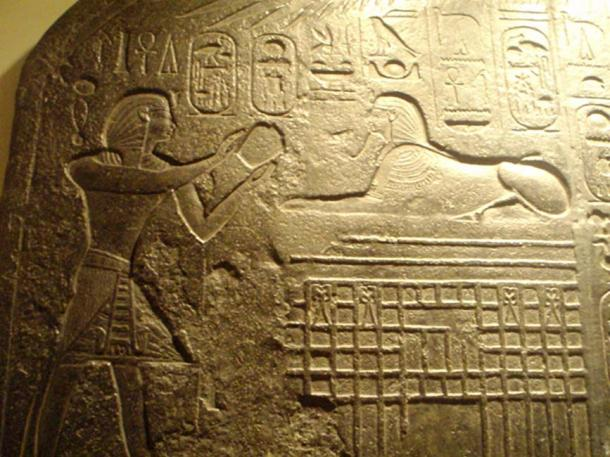 Dream Stele, detail; reproduction at Rosicrucian Egyptian Museum, San Jose.