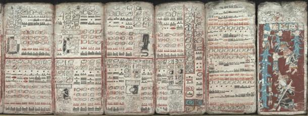 Six sheets of the Dresden Codex (pp. 55-59, 74) depicting eclipses, multiplication tables and the flood