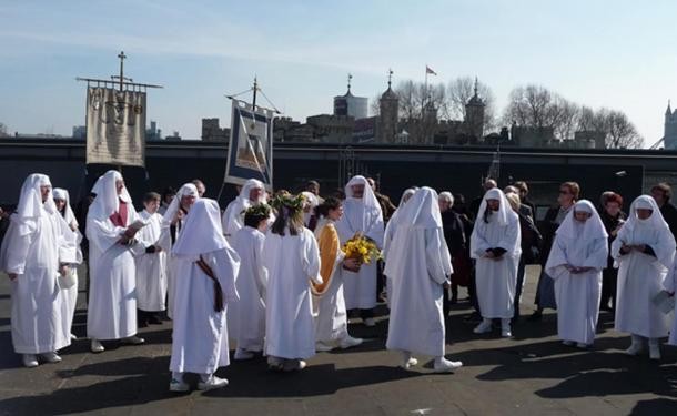 Druids meeting on Tower Hill at the Spring Solstice. The revival of druidism in London is connected to the imaginative inspiration of the Rev. R.W. Morgan, who was also responsible for forging a link between the London Stone and Brutus.