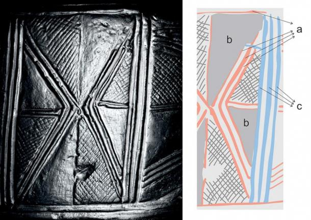Drum 1, left, with a drawing of its motifs; blank spaces showed areas of erasure, the researchers said. Also note where the triangular line at the top right has been erased.
