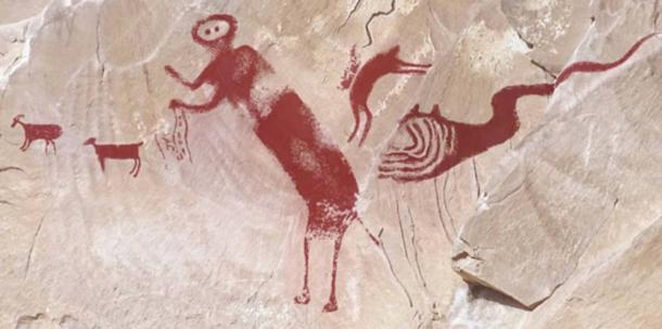 The researchers compiled Dstretch images to show the pictograph with five distinct figures. (Image by Jean-Loïc Le Quellec, Paul Bahn and Marvin Rowe in the journal Antiquity)