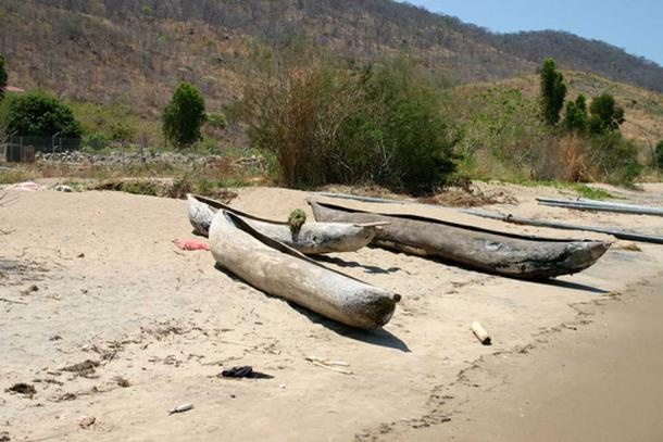 Dugout canoes hewn from wood at Lake Malawi, East African Rift system.