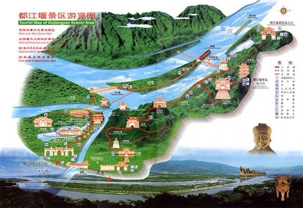 Dujiangyan irrigation system tour map