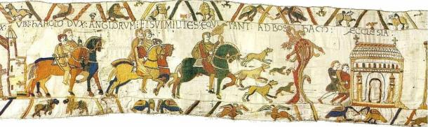 Here, Harold, Duke of the English (with hunting raptor), and his knights ride to Bosham Church.