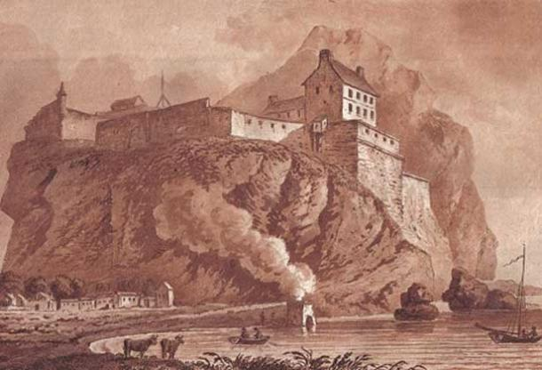 Dumbarton rock, castle, lime kiln and the clyde in 1800.