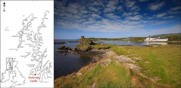 Dunyvaig Castle, Lagavulin Bay, Islay, where the clan Campbell seal was found. (Darko Maricevic ̌ & Steven Mithen / Antiquity Publications Ltd).