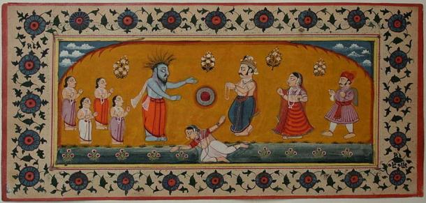 Durvasa (blue). Note the goddess Ganga in the waters at his feet (Unknown Author / Public Domain)