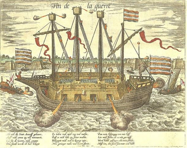 "The Dutch ship Fin de la Guerre (""End of War"") during the Siege of Antwerp in 1585."