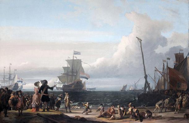 Barcos holandeses en la rada de Texel; en el medio, el 'Gouden Leeuw', el buque insignia de Cornelis Tromp. (1671) de Ludolf Bakhuizen. (Dominio público)