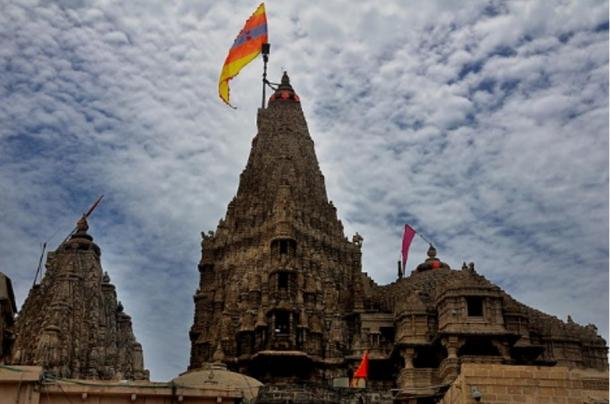 Dwarkadhish temple dedicated to Krishna in Dwarka, India.