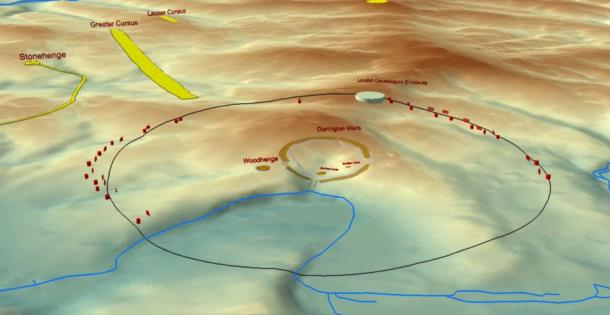 Animation illustrating the landscape setting of the Durrington pit group, major monuments and the average distance from Durrington Walls to identified features as a line.